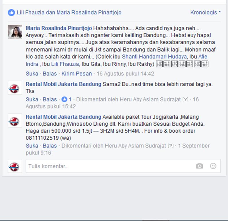 Testimoni Konsumen Rental Mobil Jakarta Bandung